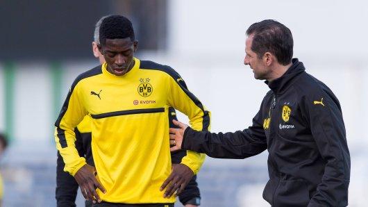 Angeschlagen: Ousmane Dembélé von Borussia Dortmund (l.).