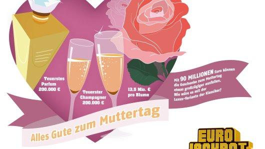 Am Sonntag, 12. Mai, ist Muttertag – die Zeit, um den Müttern mit liebevollen Geschenken zu danken. Der glückliche Gewinner des Eurojackpots am Freitag, 10. Mai, könnte seiner Mutter ein Geschenk der besonderen Art machen.
