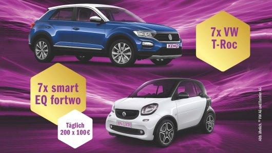 Täglich warten ein Auto und 200x 100 Euro: Noch bis 19. Mai lohnt sich die Abgabe eines Spielscheins bei KENO doppelt. Neben den üblichen Gewinnen gibt es tägliche Sonderauslosungen.