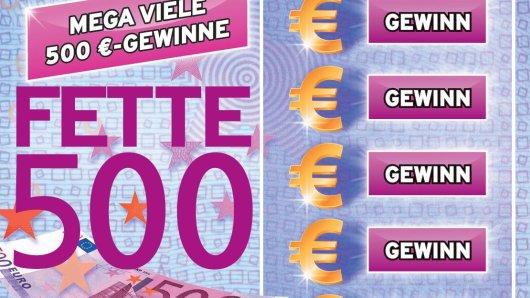 Die FETTE 500! Bei diesem Rubbellos von WestLotto steht – Überraschung – die 500 im Mittelpunkt: in Form von ganz vielen 500-Euro-Spitzengewinnen (Chance 1:1.000). Zusätzlich gibt es gute Aussichten auf Gewinne in Höhe von fünf, zehn, 20 und 50 Euro.