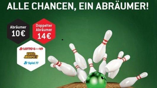 Eine neue spannende Spielalternative: Der Abräumer! Als Kombinationsspiel LOTTO 6aus49, Spiel 77 (mittwochs und samstags) sowie Eurojackpot in einem Paket spielen.
