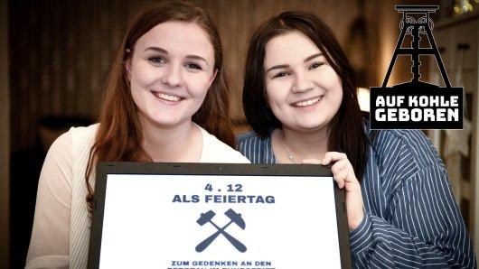 Am 25. November starteten Lea Romanowski (rechts) und Mara Gosdzick (links) eine Petition für einen Feiertag zu Ehren der Bergleute im Ruhrgebiet.