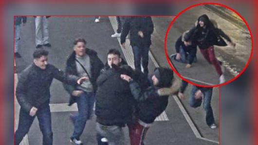 Auf den Fotos einer Überwachungskamera am Bochumer Busbahnhof ist deutlich zu sehen, wie die Angreifer Spaß an ihrer Attacke hatten.
