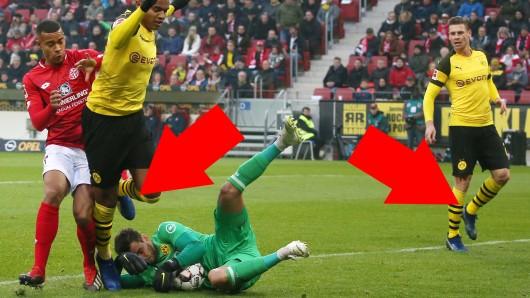 Blaue Schuhe bei Borussia Dortmund.