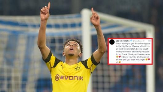 Jadon Sancho widmete seinen Siegtreffer beim Derbyerfolg von Dortmund auf Schalke seiner verstorbenen Oma.