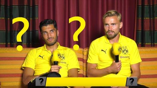 Nuri Sahin im BVB-Quiz mit Marcel Schmelzer.
