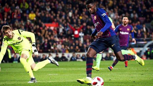Ex-BVB-Star Ousmane Dembélé traf innerhalb weniger Sekunden gleich zwei Mal gegen Levante.