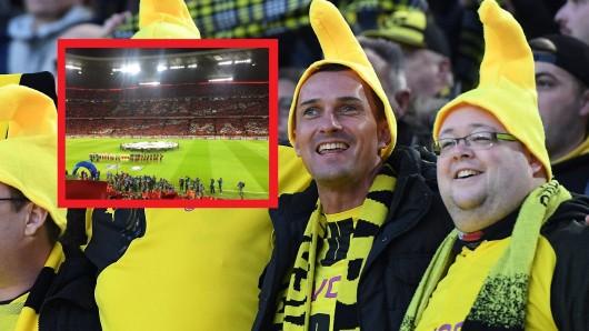 Fans von Borussia Dortmund machten sich über eine Choreo des FC Bayern lustig.