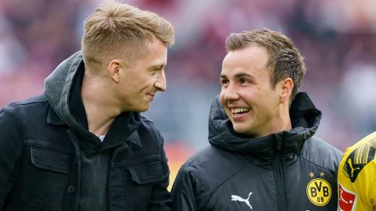 Der zuletzt gesperrte Marco Reus steht Borussia Dortmund im Liga-Finale bei Borussia Mönchengladbach wieder zur Verfügung. Mario Götze gefällt das.