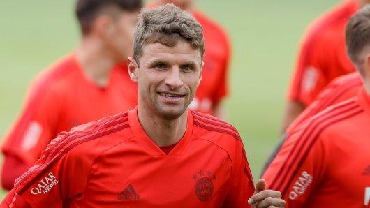 Thomas Müller (FC Bayern München) stichelt gegen Borussia Dortmund.
