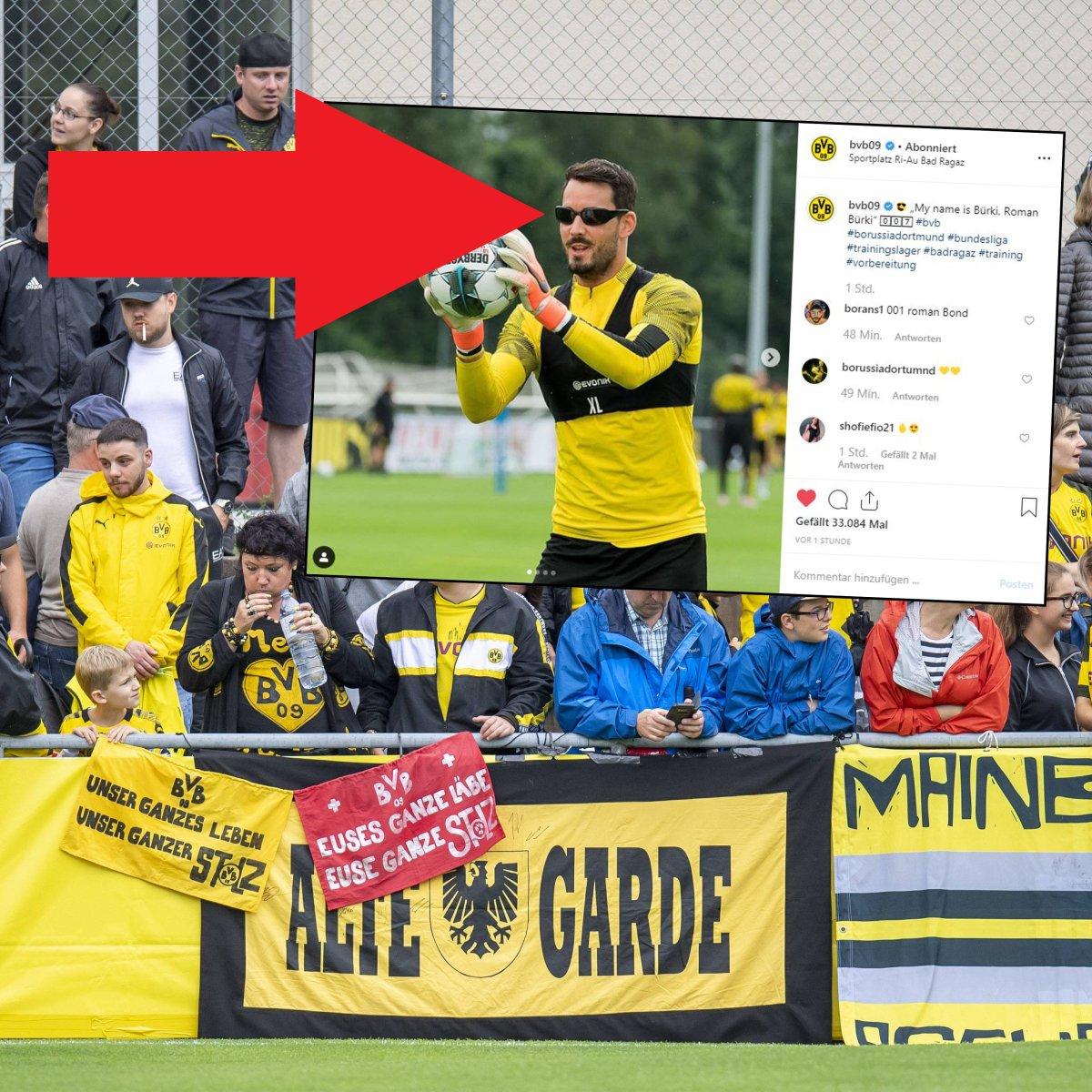 Fans von Borussia Dortmund rätseln: Was hat Roman Bürki hier auf ...