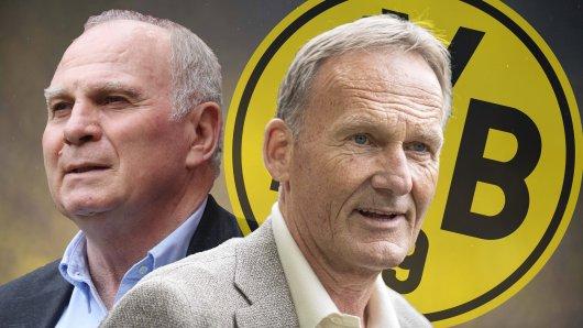 Borussia Dortmund Boss Hans-Joachim Watzke (r.) adelt Uli Hoeneß' FC Bayern.