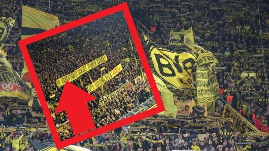 Beim Spiel zwischen Borussia Dortmund und Borussia Mönchengladbach gab es eine viel diskutierte Fan-Aktion.