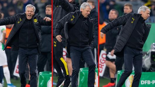 Der Trainer von Borussia Dortmund, Lucien Favre, schrie beim Torjubel plötzlich auf.