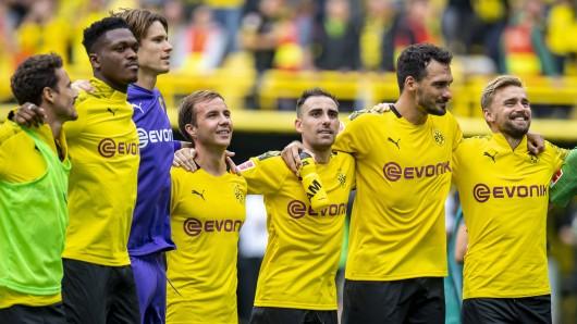 Borussia Dortmund hat eine erstklassige Ausbeute, wenn Marwin Hitz (lila Trikot) das BVB-Tor hütet.