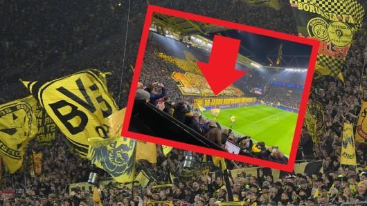 Vor dem Spiel zwischen Borussia Dortmund und Inter Mailand gab es auf der Südtribüne eine riesige Choreo.