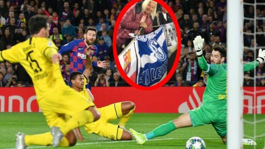 Patricia hisst die Schalke 04-Fahne im Camp Nou, wo der BVB mit 1:3 gegen Barcelona verliert.
