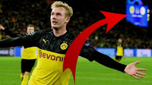 Borussia Dortmund bezwang Slavia Prag 2:1 - doch in der ersten Hälfte waren die BVB-Fans wegen der Stadionleinwand irritiert.