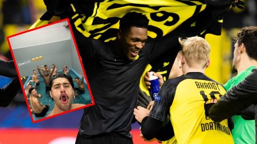 Das Jubelfoto aus der Kabine von Borussia Dortmund sorgt für Lacher.