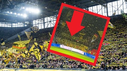 Vor dem Spiel zwischen Leverkusen und Borussia Dortmund präsentierten die BVB-Ultras ein großes Spruchband.