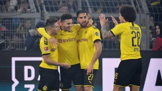 Während Raphael Guerreiro (li.) und Jadon Sancho mit Toren brillierten, überzeugte Emre Can (re.) an der Seite von Axel Witsel im defensiven Mittelfeld.