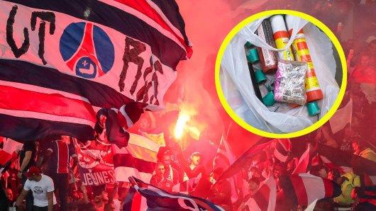Vor dem Spiel zwischen BVB und PSG entdeckte die Polizei bei Kontrollen große Mengen an Pyrotechnik.