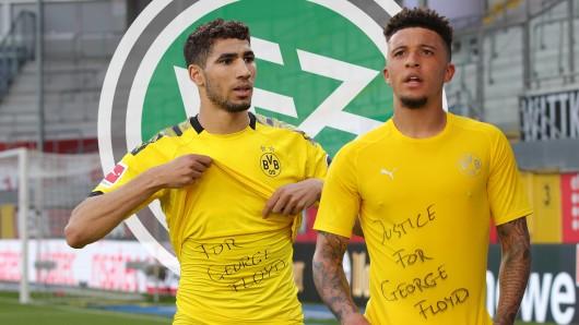 Borussia Dortmunds Stars Jadon Sancho (r.) und Achraf Hakimi stehen im Mittelpunkt von DFB-Ermittlungen.