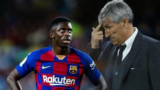 Wie bei Borussia Dortmund sorgt Ousmane Debélé auch beim FC Barcelona für Ärger. Nun zieht Trainer Quique Setien (r.) Konsequenzen.