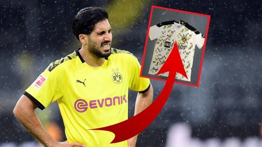Beim Anblick des potenziellen Ausweichtrikots von Borussia Dortmund muss Emre Can sehr tapfer sein.