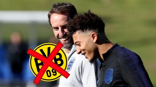 Kann Borussia Dortmund Jadon Sancho (r.) halten? England-Nationalcoach Southgate (l.) würde ihn offenbar lieber wieder auf der Insel sehen.