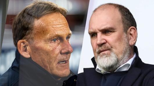 Bei Borussia Dortmund kontert Boss Watzke die Giftpfeile von Wolfsburg-Manager Schmadtke (r.) und Co.