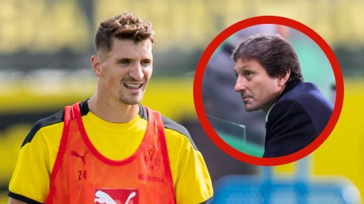 Borussia Dortmunds Neuzugang Thomas Meunier zofft sich mit PSG-Sportdirektor Leonardo.