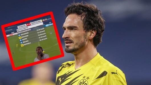 Mats Hummels kann es nicht glauben. Der BVB-Star war beim Derby einer der schnellsten Spieler.