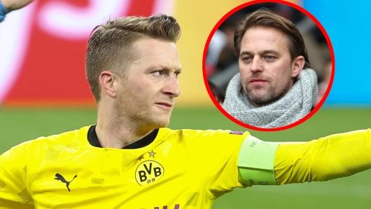 BVB-Kapitän Marco Reus wird von Timo Hildebrand hart attackiert.