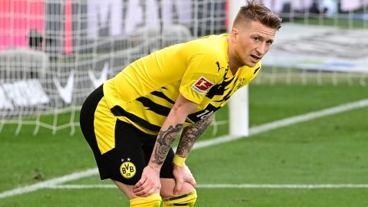 Marco Reus aus der Puste – der Versuch des BVB-Kapitäns, mit Erling Haaland mitzuhalten, scheiterte kläglich.