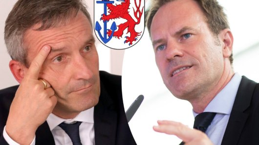 SPD-Amtsinhaber Thomas Geisel (links) und sein Herausforderer Dr. Stephan Keller.