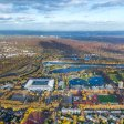 Duisburg von oben: Der Sportpark Wedau mit MSV-Arena und Regattabahn. Stand hier mal eine Burg?