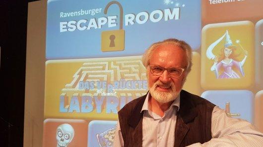 Der Erfinder des Spieleklassikers mit Kultcharakter: Professor Max J. Kobbert bei der Eröffnung des neuen Escape-Rooms in Duisburg.