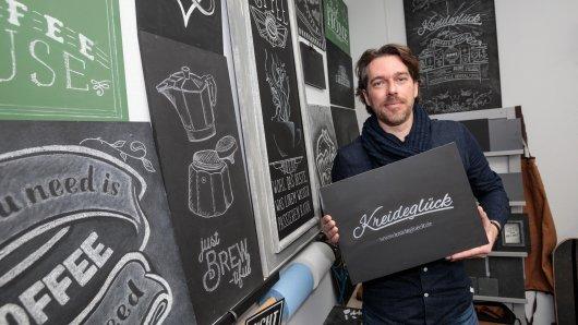 Start-up-Gründer Marco Kocks hat sich auf Kreidemalerei spezialisiert.