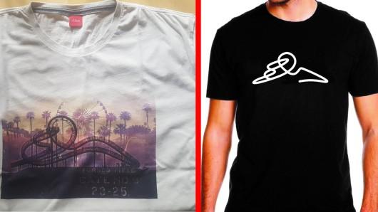 Links das T-Shirt von s.Oliver, rechts die Alternative von Duisburg Kontor