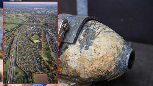 Die A59 bei Duisburg muss während der Entschärfung der Fliegerbombe entschärft werden.