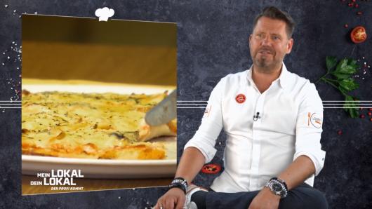 """""""Mein Lokal, dein Lokal""""-Profi-Koch Mike Süsser kann es nicht fassen, als er diese Pizza sieht."""
