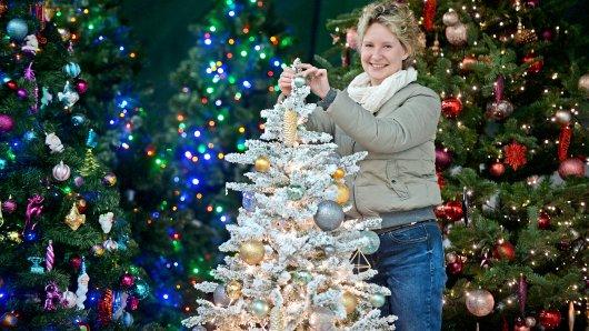 Anke Ohlenhoff schmückt ihre hochwertigen Kunsttannen in einer Halle in Bergerhausen und vermietet sie dann für Weihnachten