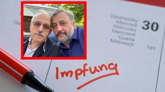 Namık Çelik (rechts) und sein 81-jähriger Vater aus Essen hoffen, dass der Rentner bald geimpft werden kann.
