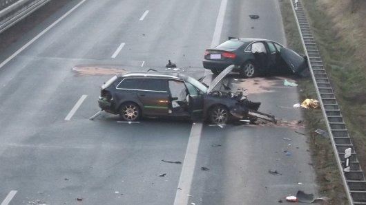 Die Unfallstelle nach dem Unfall auf der A43.
