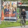 Wahlkampfplakate der CDU und SPD in Düsseldorf.