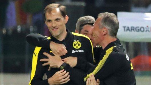 BVB-Trainer Thomas Tuchel im Moment des Triumphes.
