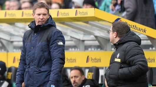 Aufgebracht: Borussia Mönchengladbachs Sportdirektor Max Eberl (r.) beschimpft Hoffenheims Trainer Julian Nagelsmann (l.).