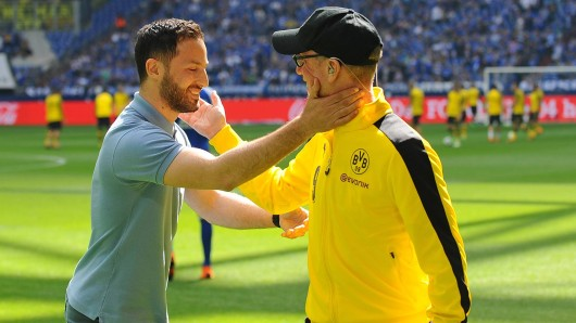 Schalke-Trainer Domenico Tedesco und BVB-Trainer Peter Stöger.