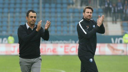 Die Bochumer Fans applaudierten Trainer Robin Dutt (l.) und Co-Trainer Heiko Butscher.